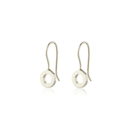 Silver small hoop drop earrings - textured