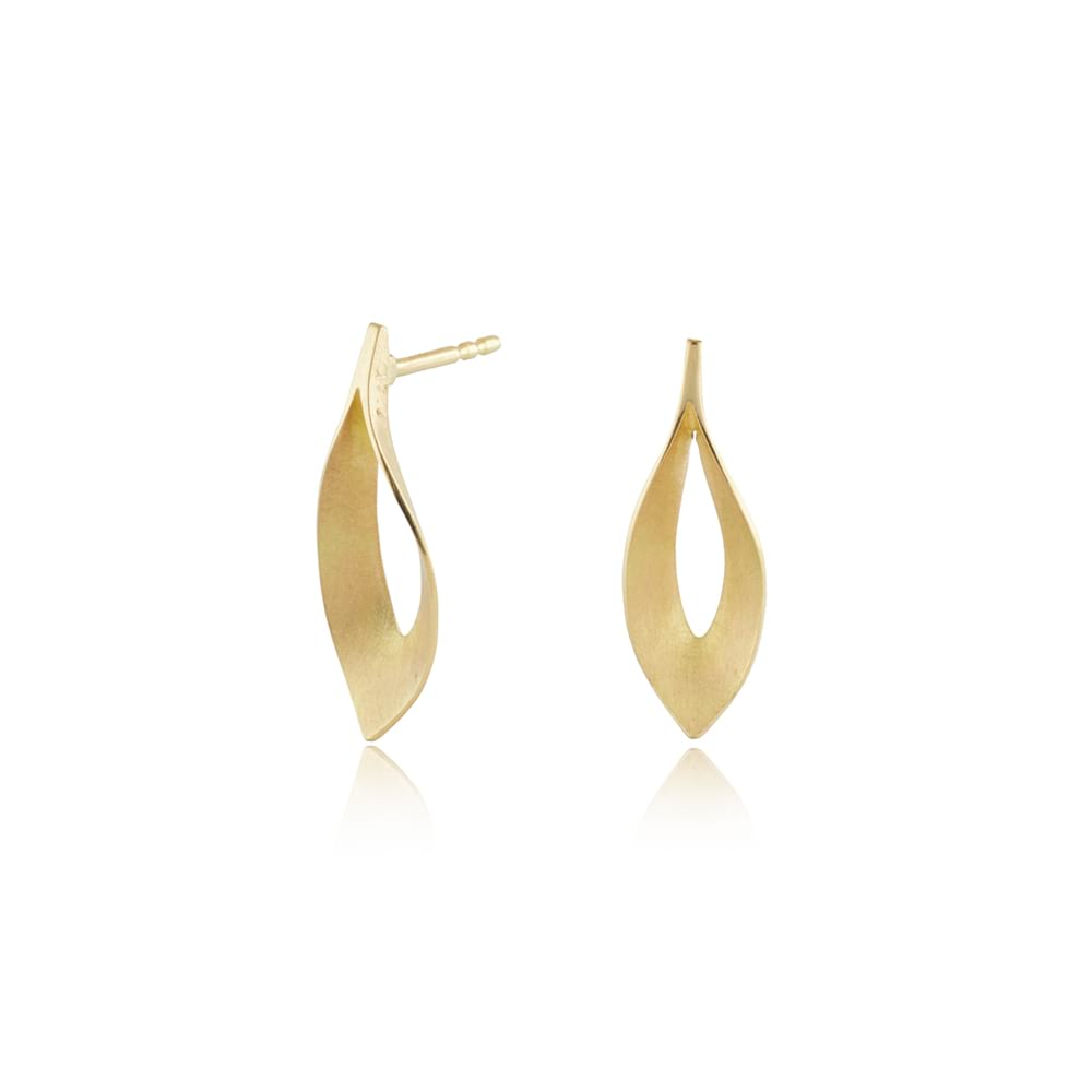 Small 18ct yellow gold dancing flame earrings
