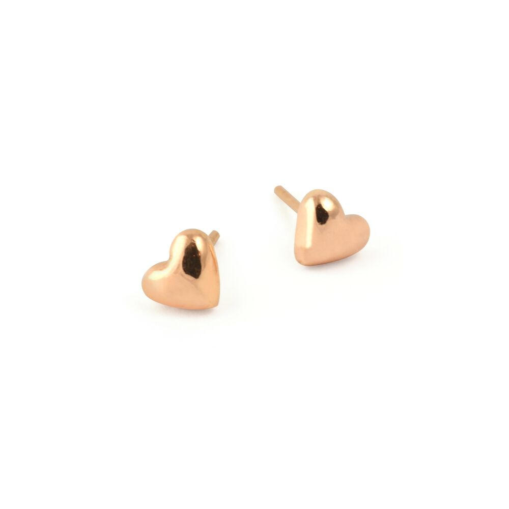 Tiny hearts earrings - rose gold