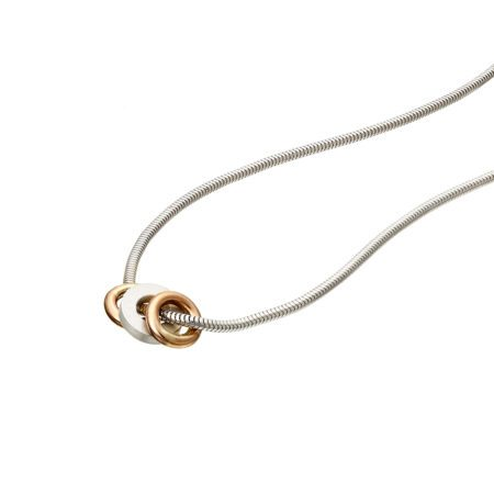 Trio pendant - 2 rose gold hoops - detail