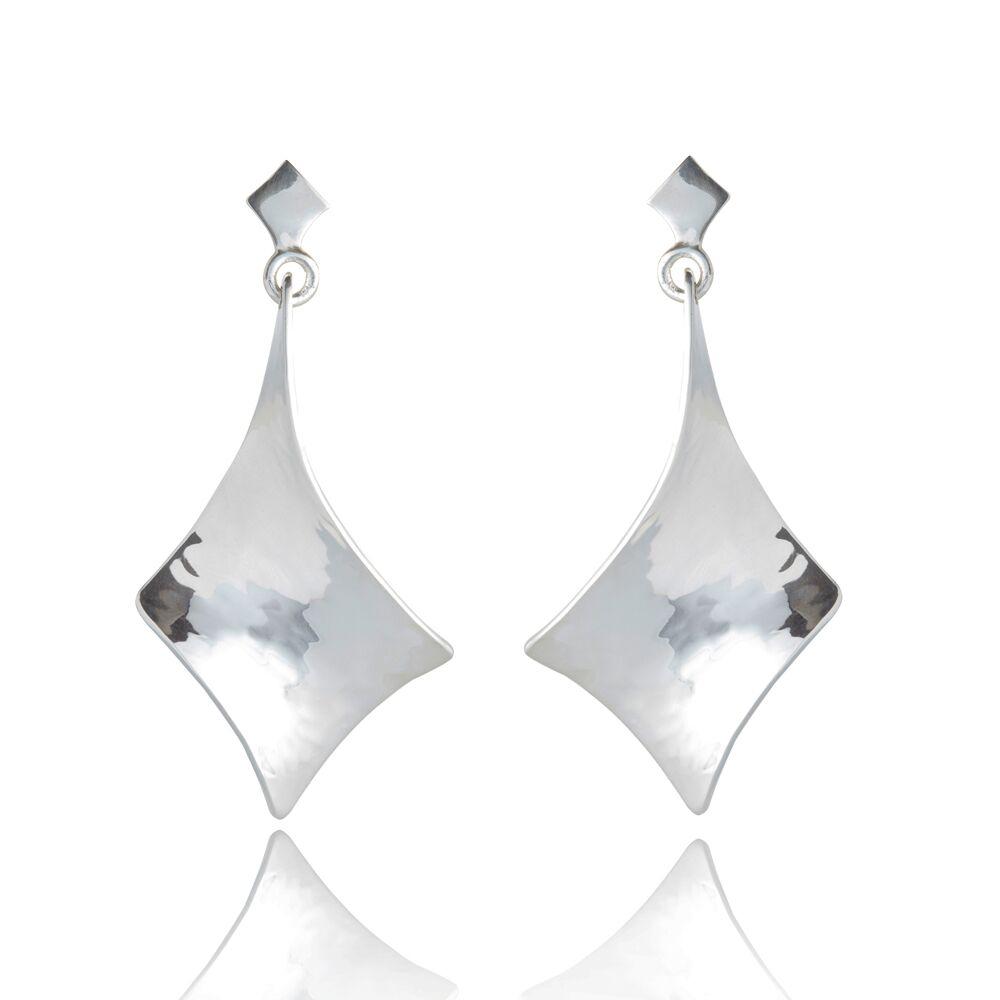 Twist silver long large drop earrings