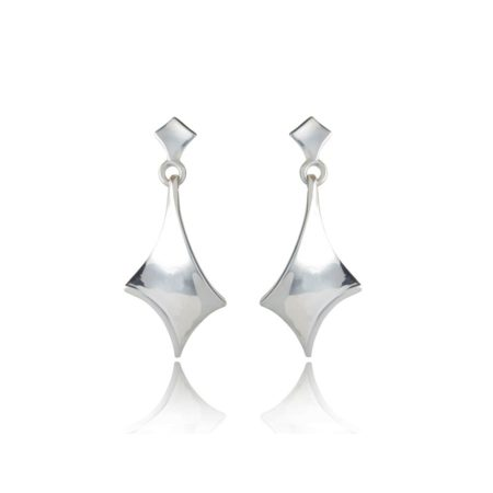 Twist silver large short drop earrings