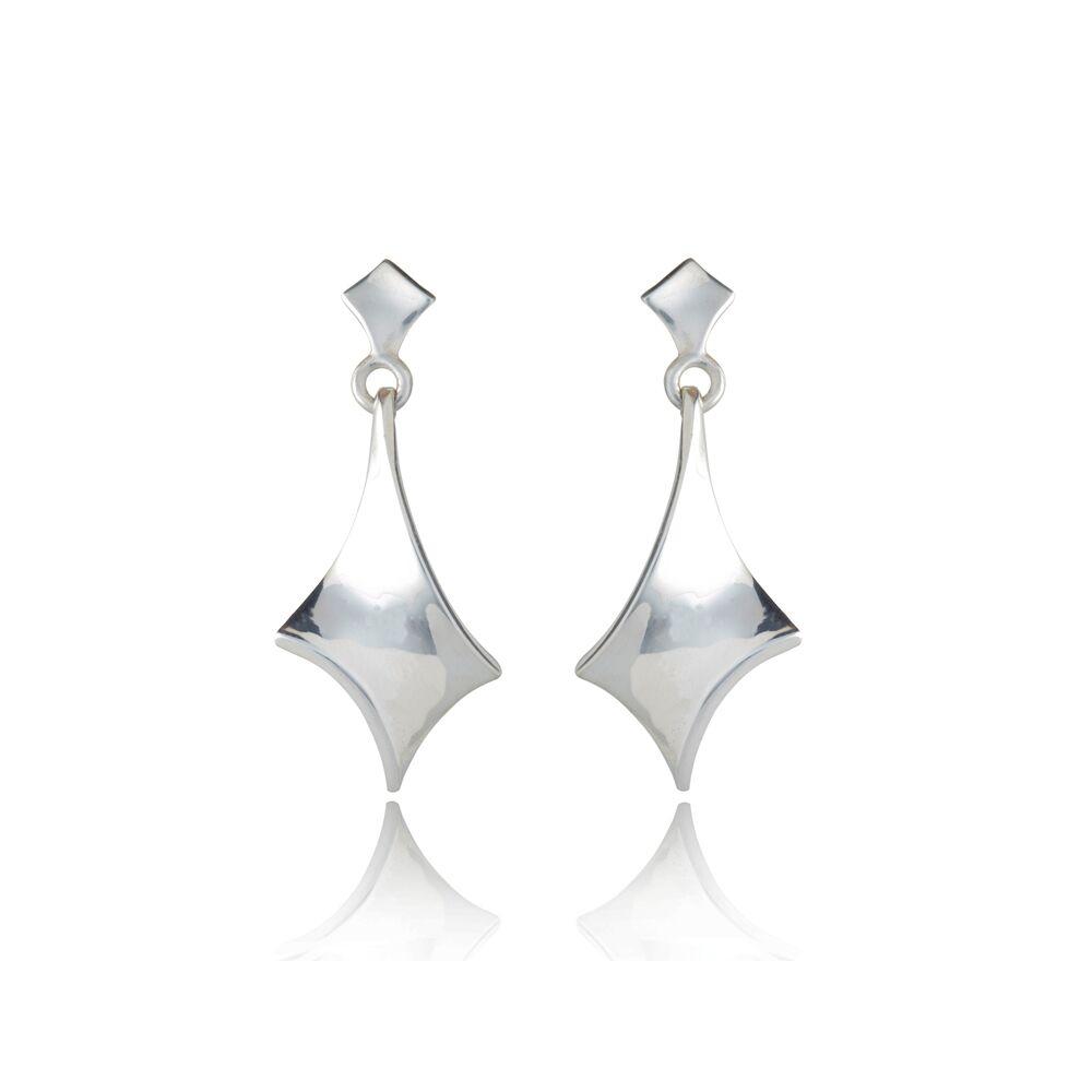 Twist silver large short drop earrings