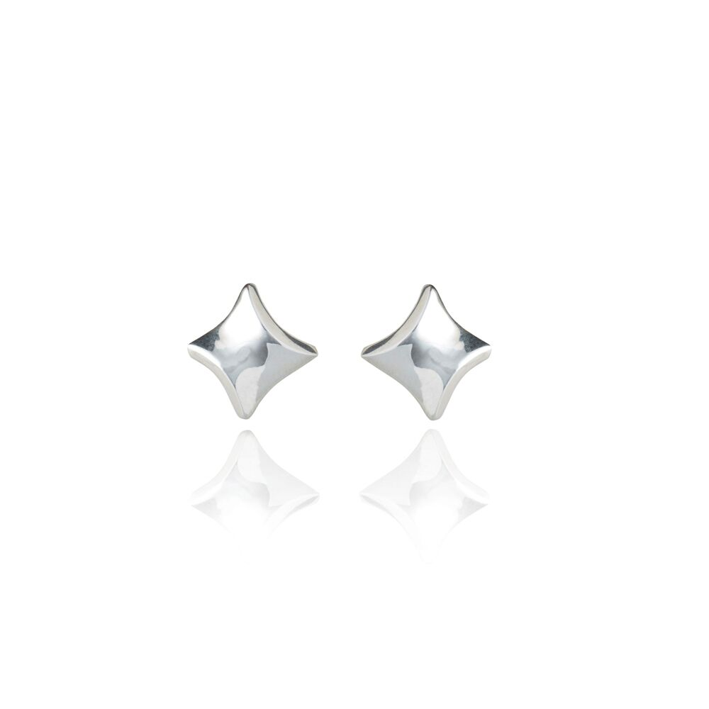 Twist silver stud earrings
