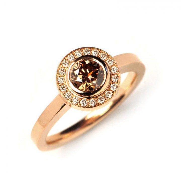 Bezel chocolate diamond rose gold engagement ring