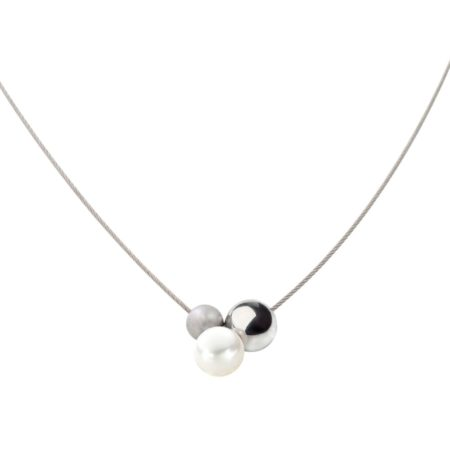 Double steel and pearl neckwire
