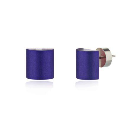 Half barrel stud earrings - blue