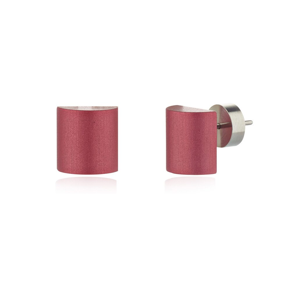 Half barrel stud earrings - blush