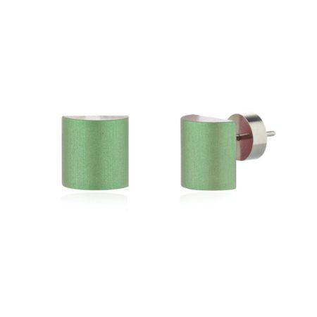 Half barrel stud earrings -green