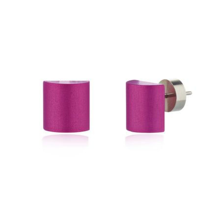 Half barrel stud earrings - purple