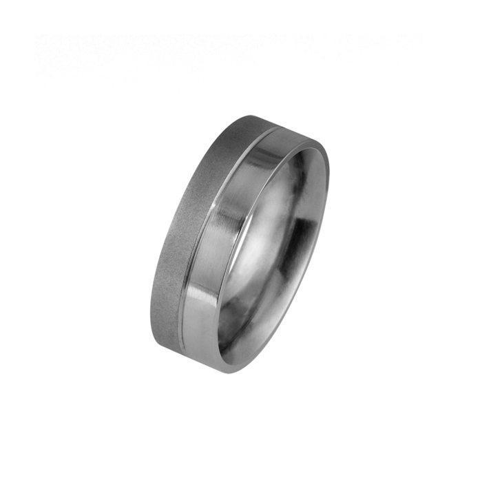 Half textured - half polished titanium men's wedding ring