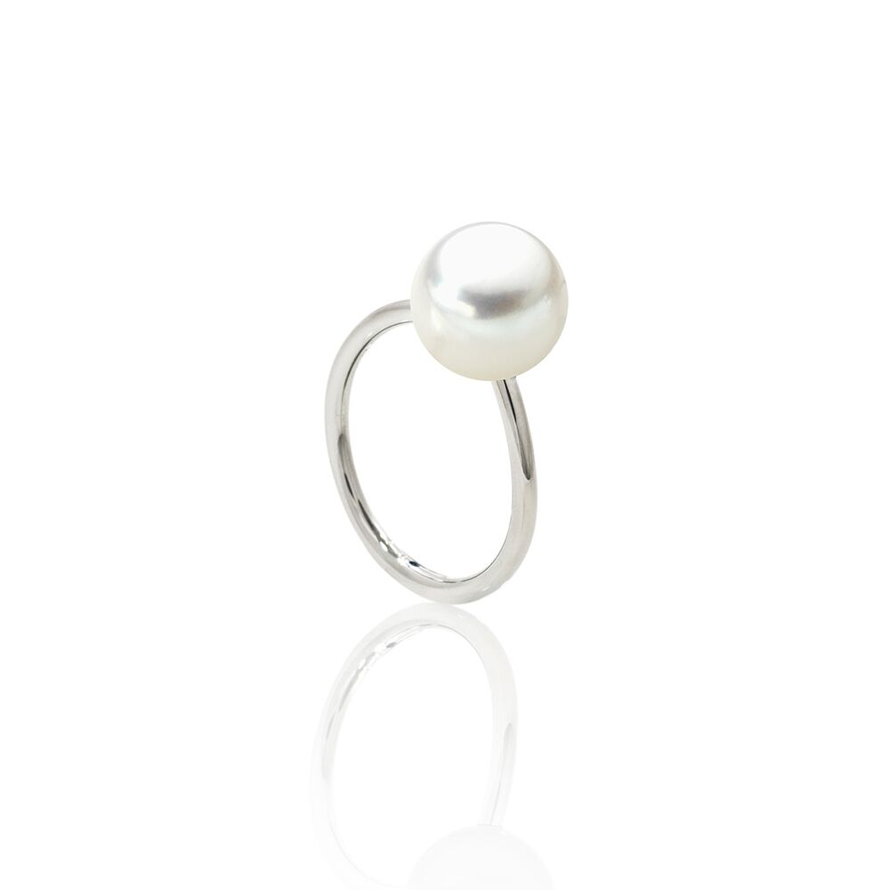 Large pearl ring - steel 2