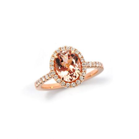 Rose Gold Ring with pale pink centre stone