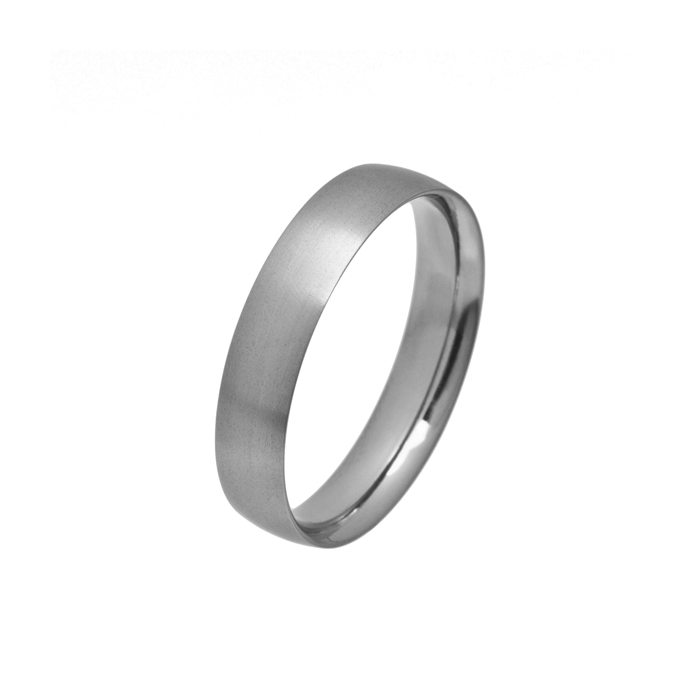 Narrow curved titanium wedding ring