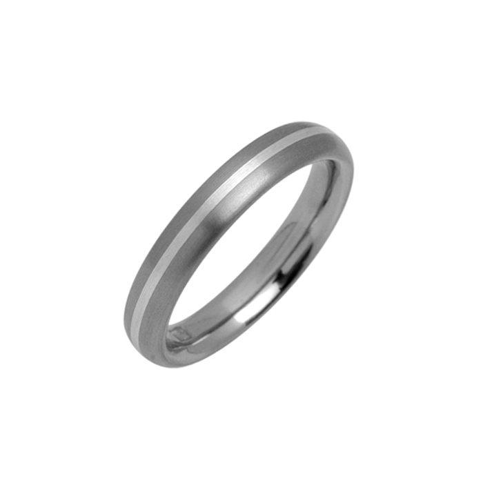 Narrow titanium wedding ring with silver inlay