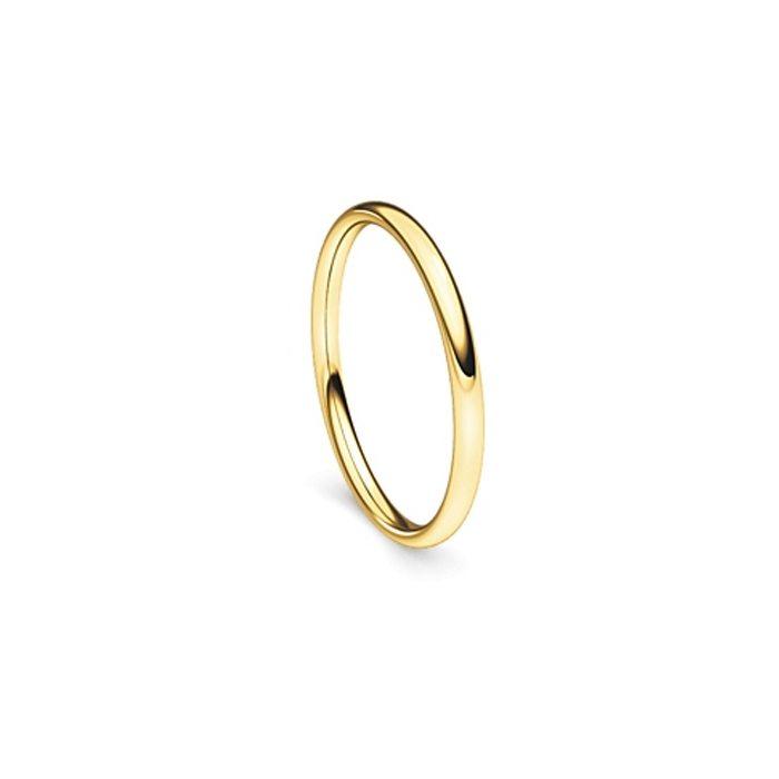Narrow yellow gold band