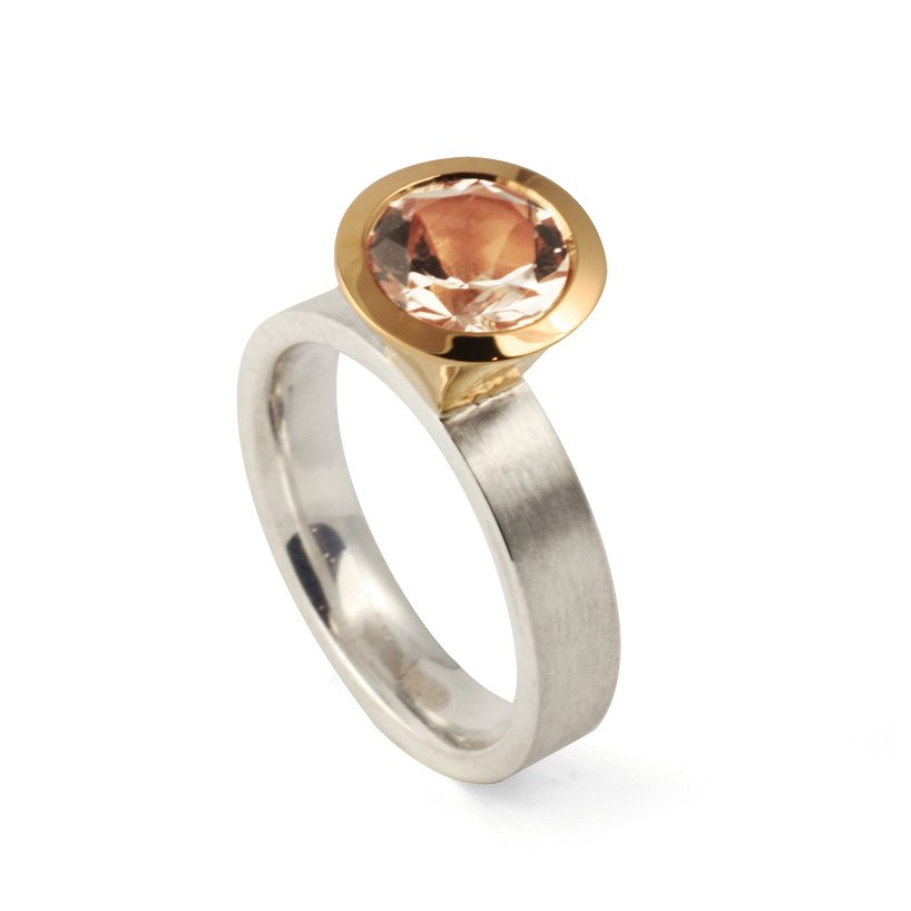 rose gold and silver morganite cocktail ring