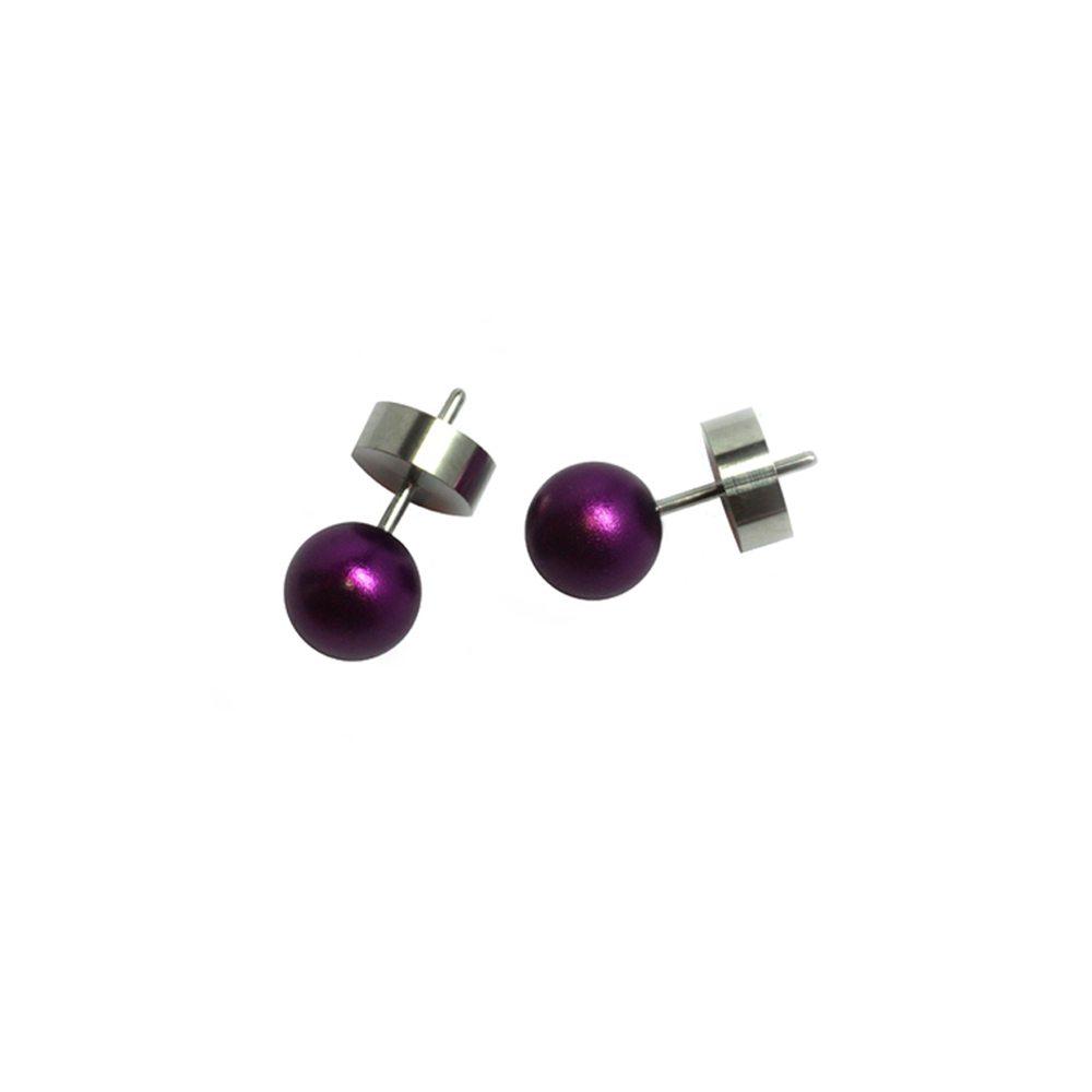 Round stud earrings - purple