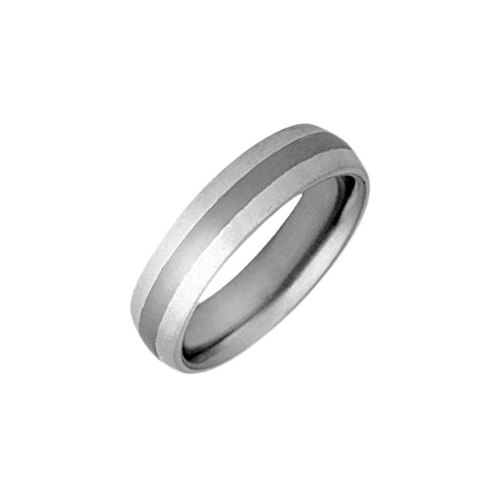 Silver curved wedding ring with titanium inlay
