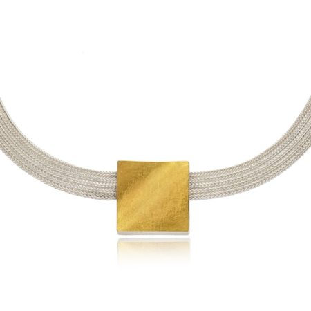 Silver mesh with gold square pendant_detail