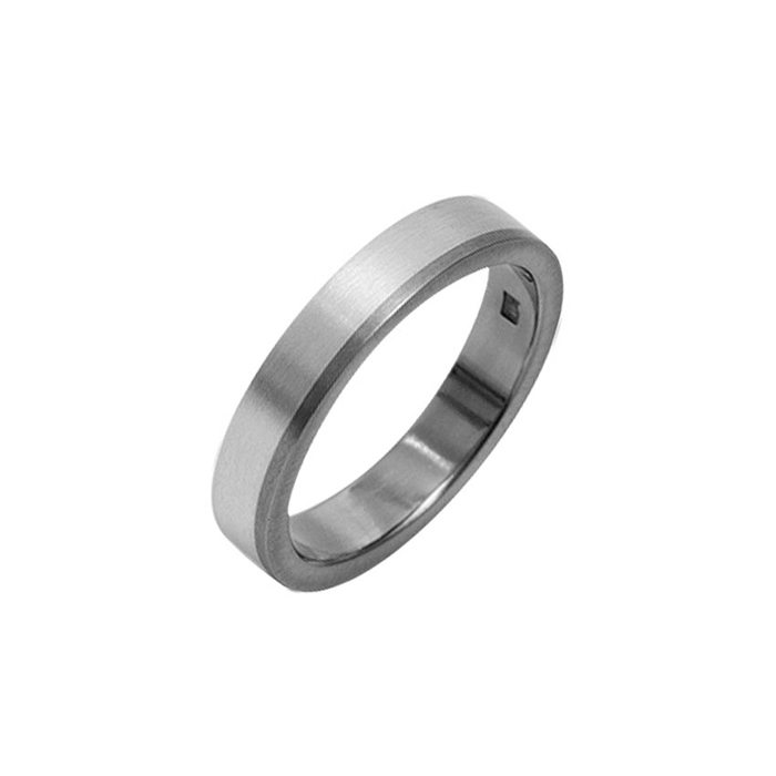 Silver men's wedding ring with offset titanium