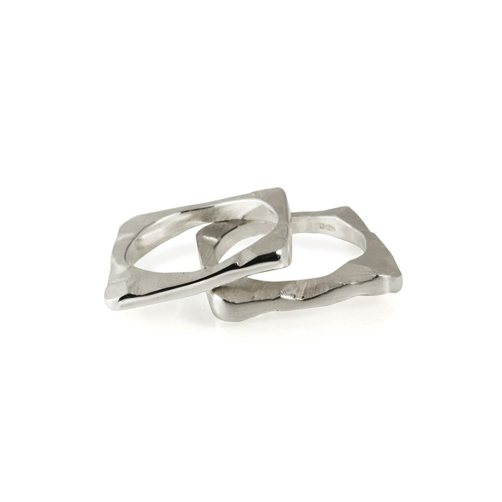 Square shard ring silver