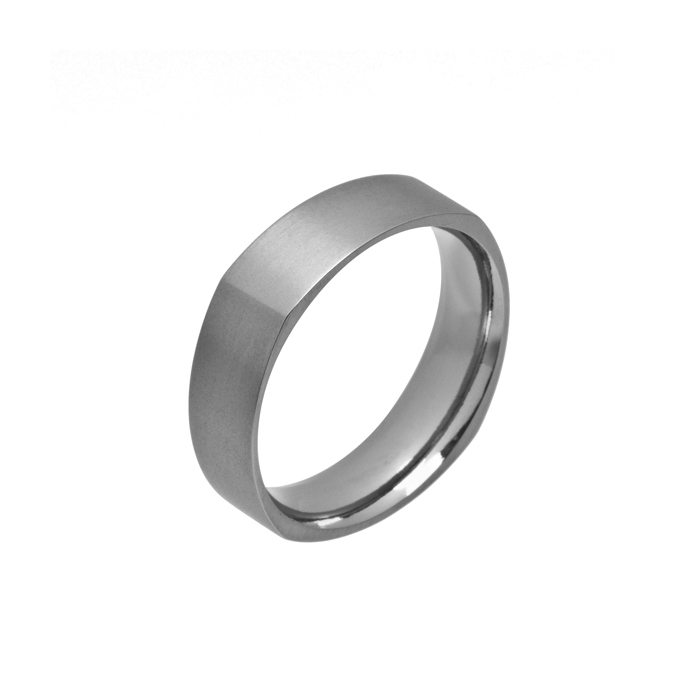 Square titanium wedding ring