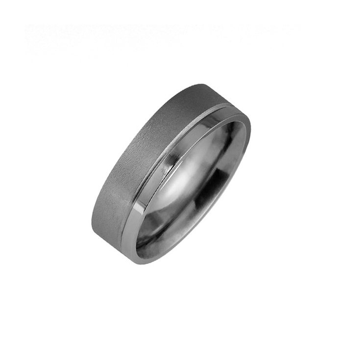 Textured and polished titanium men's wedding ring