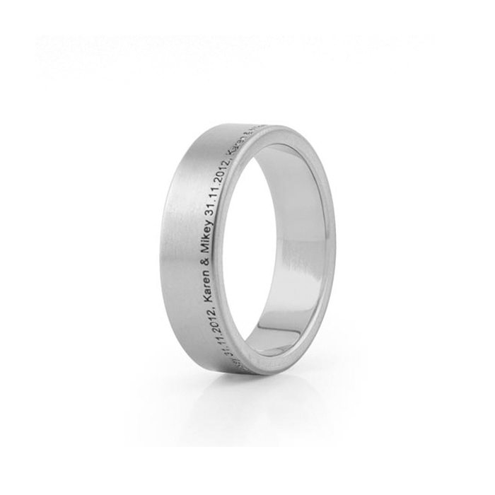 wide Titanium wedding ring with offset engraving
