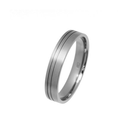 men's Titanium wedding ring with offset grooves
