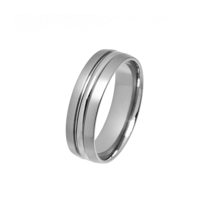 men's Titanium wedding ring with polished section