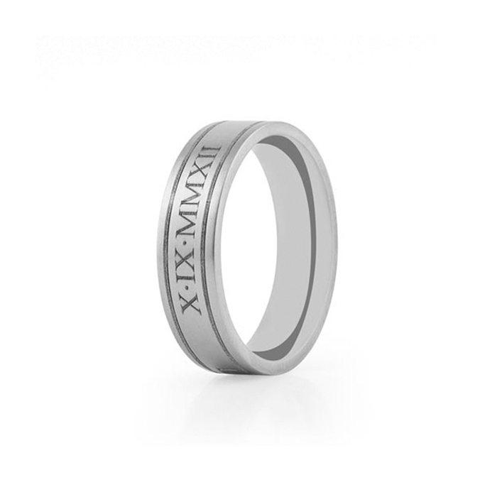 Titanium wedding ring with roman numerals