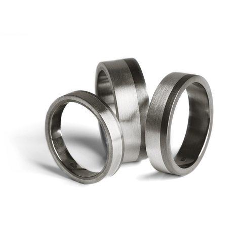 titanium wedding bands silver inlay