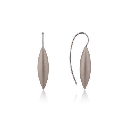 Tulip silver drop earrings - grey