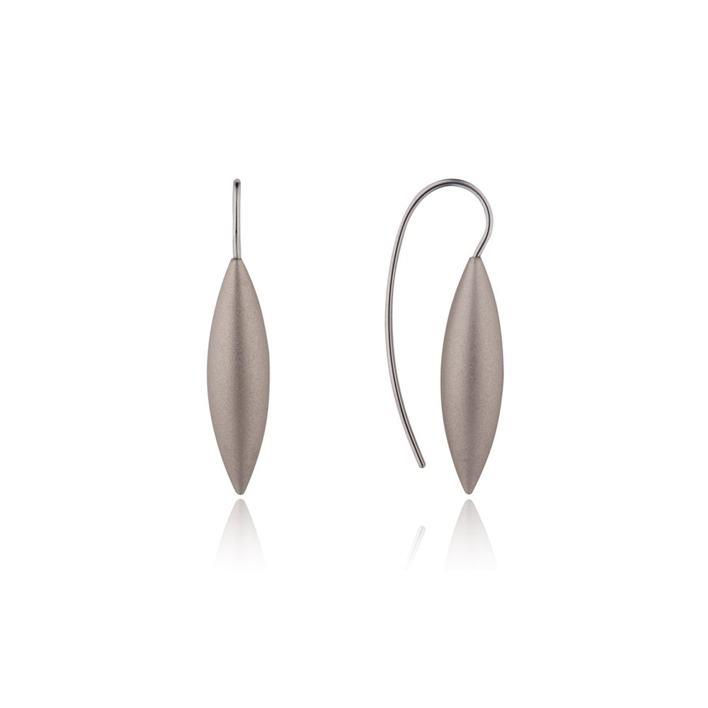 Tulip silver drop earrings - grey