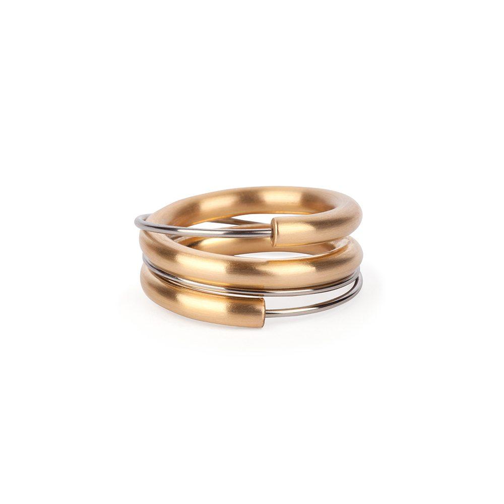 Two-tone wrap around ring