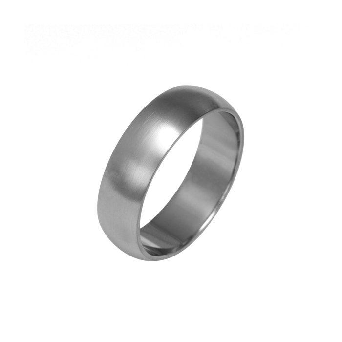 Wide curved titanium men's wedding ring
