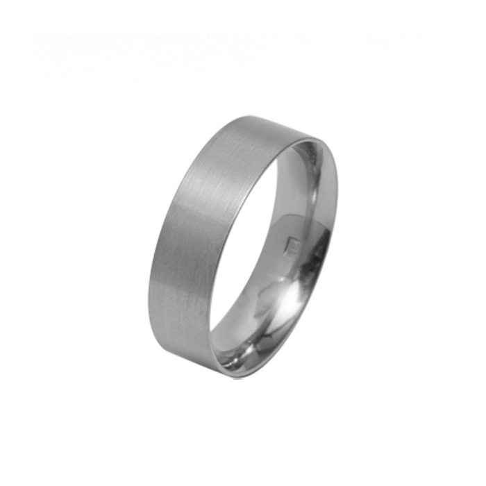 Wide flat titanium wedding ring