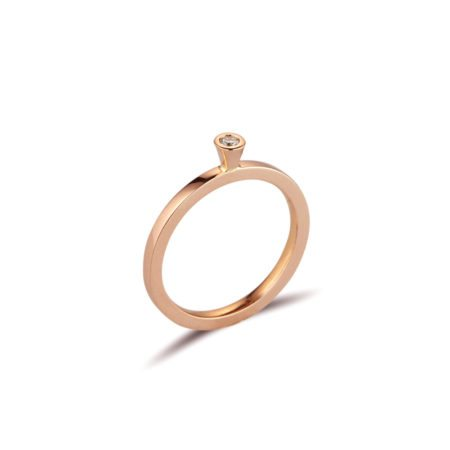 Aurora rose gold diamond stacking ring - 0.05ct