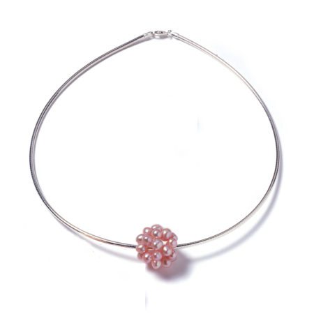 Pink pearl cluster necklace