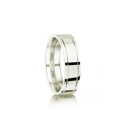 Polished palladium wedding ring with grooves