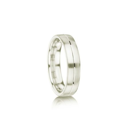 Single groove palladium wedding ring