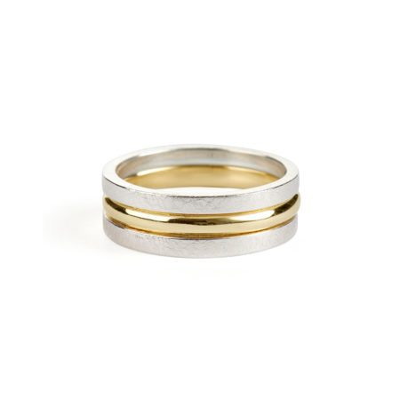 Stacking rings - silver - yellow gold