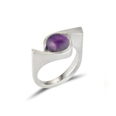 Silver quintet cocktail ring with amethyst