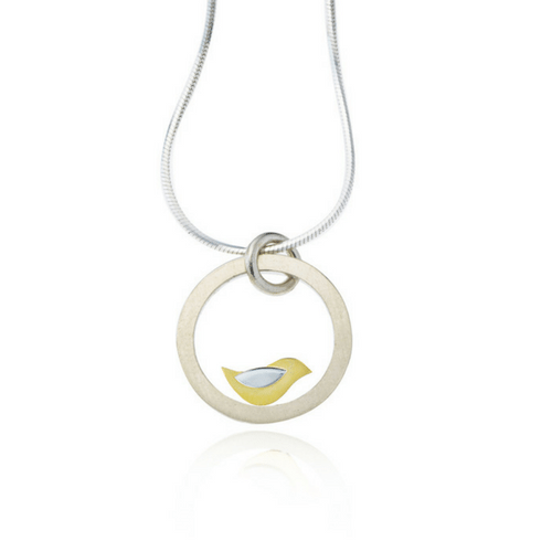 Birdie silver and gold pendant