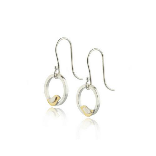 Birdie silver and gold drop earrings