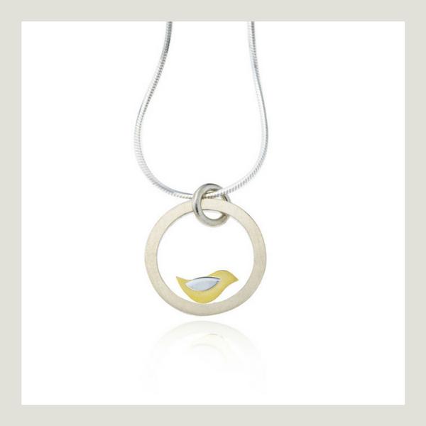 Birdie silver and gold bird pendant