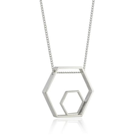 Large Silver Hexagon Pendant