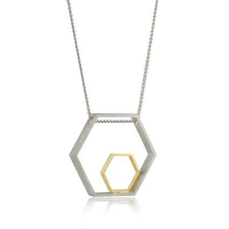 Large Two-tone Hexagon Pendant