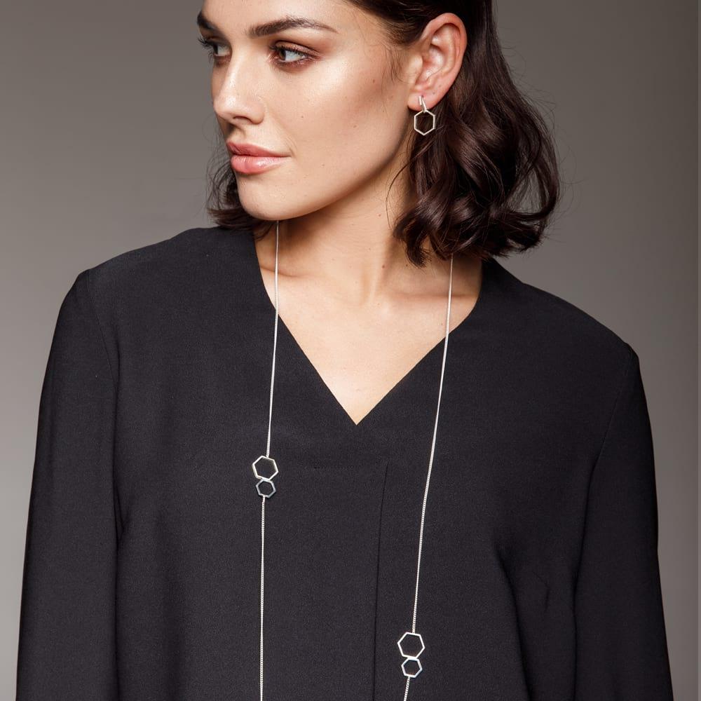 Silver Hexagon Jewellery on Model